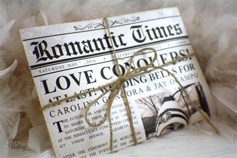 Newspaper Wedding Invitations Romantic Times Vintage