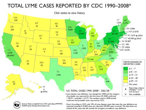 lyme disease map cases reported by cdc 1990 2008