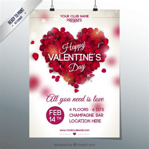 valentines club party poster vector