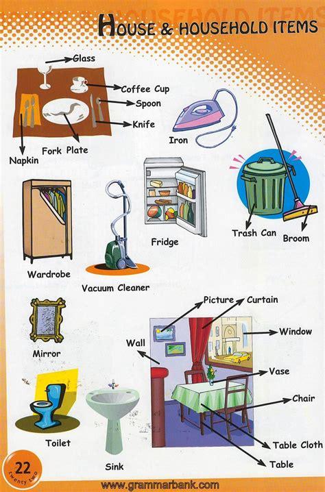 household items vocabulary  kids