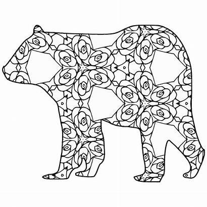 Geometric Coloring Animal Pages Printable Bear Thecottagemarket