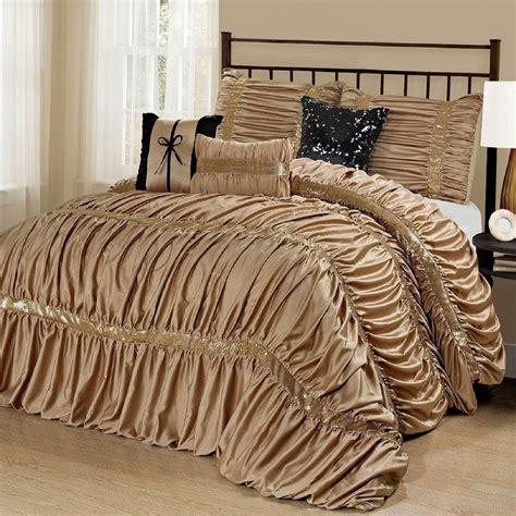 gold comforter set cal king bed solid gold black sequin striped 7pc
