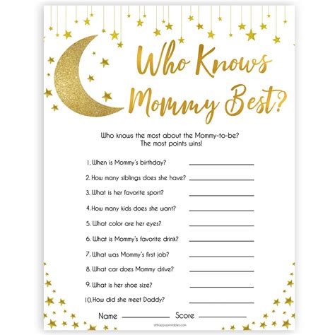 mommy  game printable  star baby