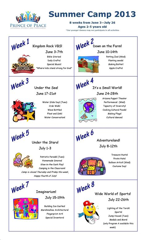 weekly themes for preschool summer camp calendar 2013 i this idea to devote a 260