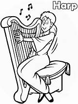 Coloring Music Pages Muziek Colouring Musician Harp Sheets Musical Kleurplaten Irish Trumpet Worksheets Getcoloringpages Printable Coloringpagesabc Clipart Instruments Notes Van sketch template