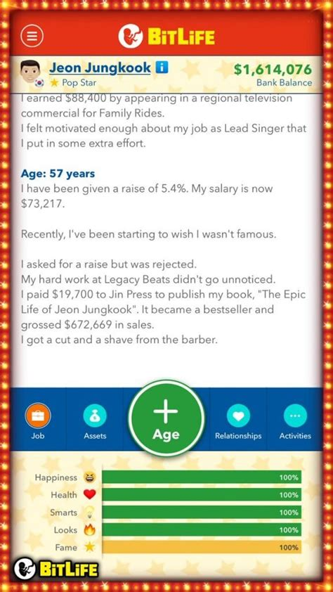 bitlife famous become singer celebrity superstar looks updated example guy