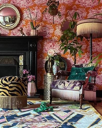 Orange Wendy Morrison Herringbone Florals Wendymorrisondesign Interior