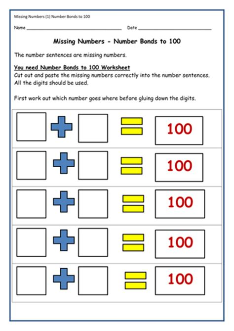 cut paste activities addition number bonds equations activity sheets teachers notes by