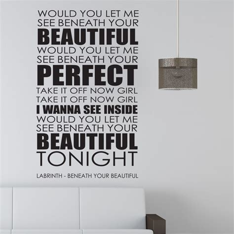 Bedroom Wall Stickers Lyrics by Labrinth Wall Sticker Beneath Your Beautiful Decal