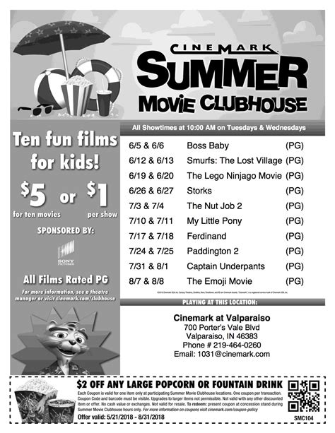 Cinemark Summer Movie Clubhouse 2018 *Updated for 2018* $1 ...