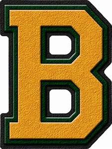 Presentation Alphabets: Gold & Forest Green Varsity Letter B