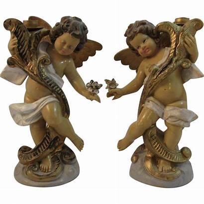 Candle Cherub Italian Holders Candlesticks