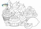 Coloring Pages Cupcake Cupcakes Cup Sheets Cakes Adult Kawaii Adults Coloriage Sweet Detailed Pour sketch template
