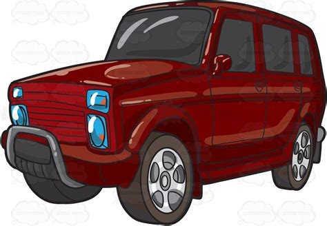 red jeep clipart a big red suv cartoon clipart vector toons