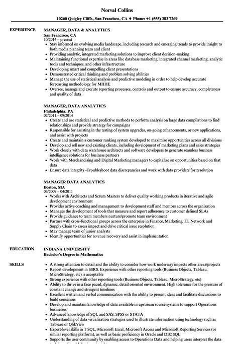 Resume For Analytics by Manager Data Analytics Resume Sles Velvet