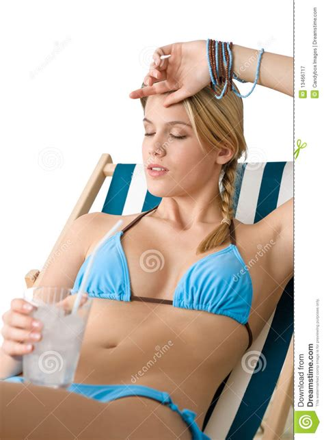 Bikini Drink Beach Happy Woman In Bikini With Cold Drink Royalty Free