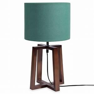 Abat Jour En Bois : lampe en bois avec abat jour vert h 44 cm mahogany ~ Dailycaller-alerts.com Idées de Décoration