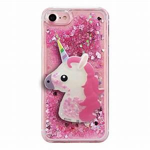 Coque Iphone 6 Rose Poudré : coque licorne 3d avec paillettes liquides pour iphone 6 6s rose evetane ~ Teatrodelosmanantiales.com Idées de Décoration