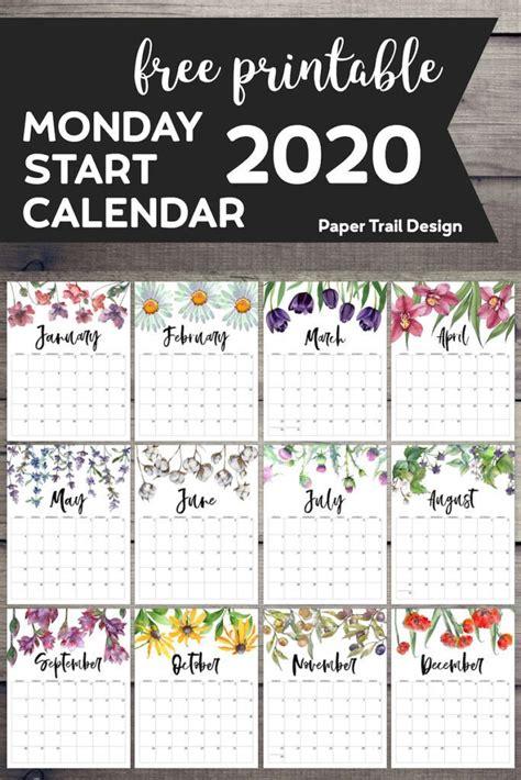 printable  monday start calendar floral print