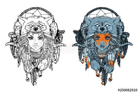 """See more ideas about native american, native american art, native american indians. """"Native American girl with Wolf headdress and feathers ..."""