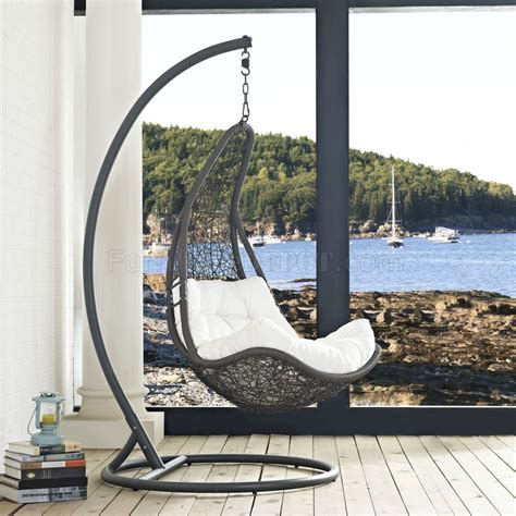 patio swing chair abate outdoor patio swing chair in gray white by modway
