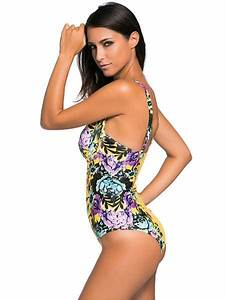 Bathing Suit Size Chart Floral Print Padded Underwired Retro One Piece Bathing Suits