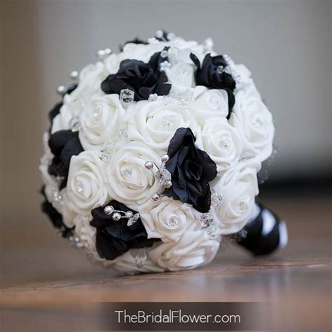 Black And White Wedding Bouquet With Crystals Bridal