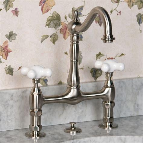 bridge bathroom faucet large porcelain cross handles