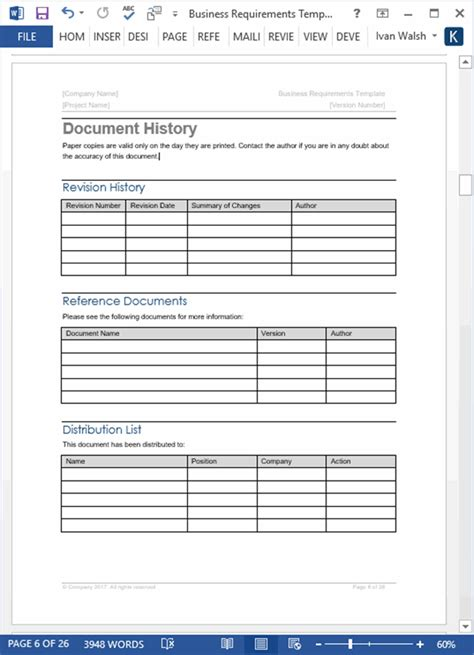 business requirements templates ms office templates