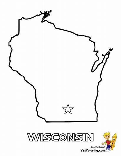 Wisconsin Coloring Map Pages Outline State Tennessee