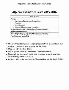 Algebra 1 Semester Exam 2015