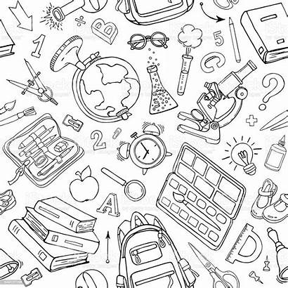 Supplies Doodle Pattern Seamless Sketchy Fondo Doodles