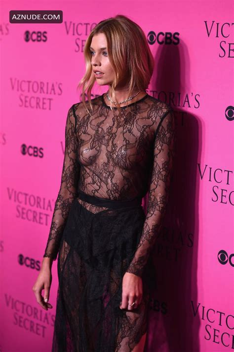 Stella Maxwell Braless In A Sheer Dress At Victorias