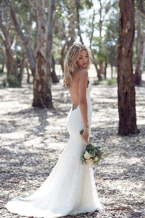 Bohemian Lace Backless Wedding Dress With Spaghetti Straps