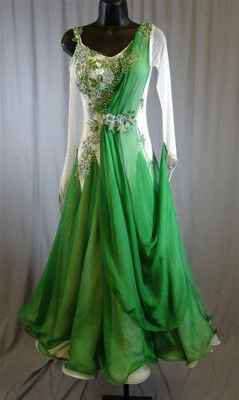 elegant white green long mesh sleeves ballroom dress