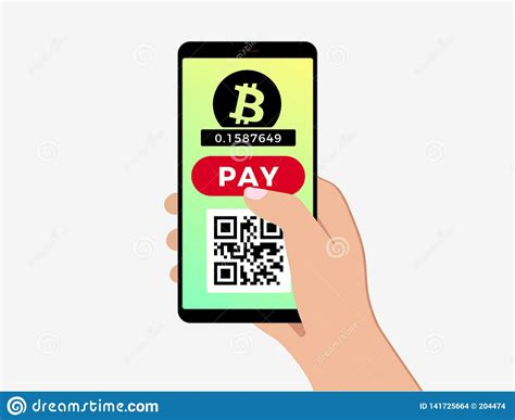 Use this qr code generator bitcoin qr code generator | convert your bitcoin wallet address to qr code. Bitcoin Mobile Payment Concept Stock Vector - Illustration of business, crypto: 141725664