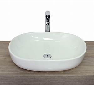 Lavandino da appoggio di forma ovale arrotondato triangolare in ceramica bianca lucido in 4 versioni