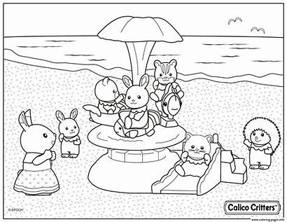 Critters Coloring Pages Beach Calico Vacation Colouring