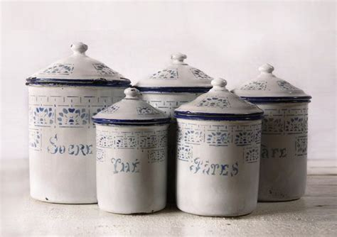 what to put in kitchen canisters great set of five white and blue enamel canisters