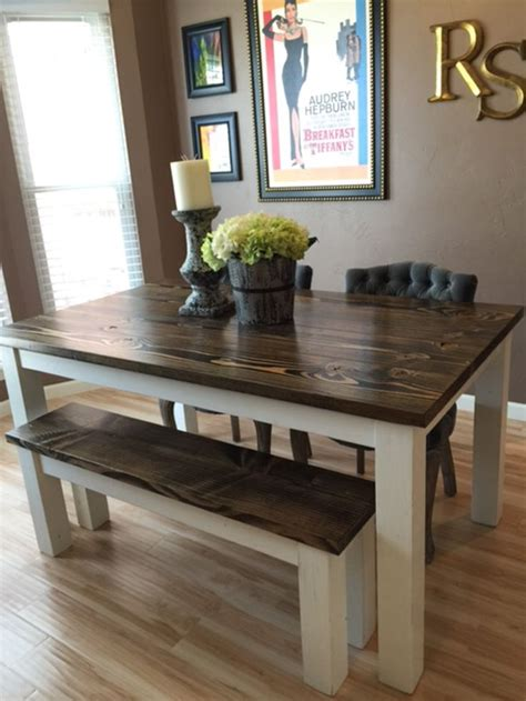 solid wood farmhouse kitchen table  matching wooden