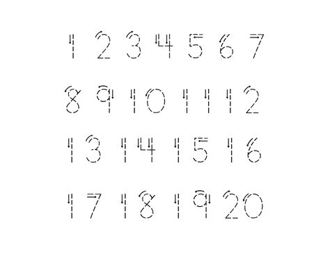 kindergarten trace numbers 1 20 printable loving printable 481 | kindergarten trace numbers 1 20 to print