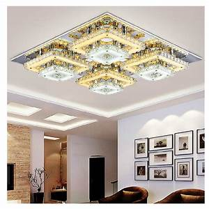 Art deco remote control square flush mount crystal ceiling