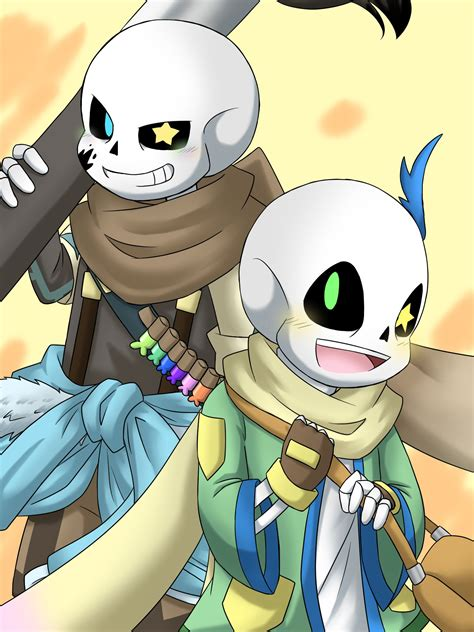 """With tenor, maker of gif keyboard, add popular ink sans animated gifs to your conversations. ミル@アンテ垢 on Twitter: """"Ink!Sans&Happy!Sans AUの守護者と幸せを運ぶ者。 この ..."""