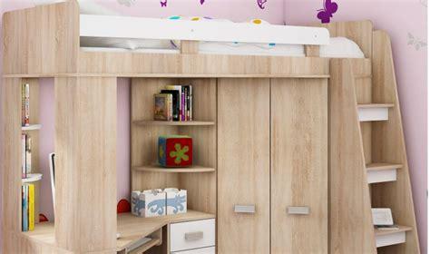 lit surélevé avec bureau intégré lit combin en hauteur enfant avec bureau et armoire en bois