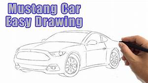 How to Draw a Mustang Car Drawing: Easy Ford Mustang GT Step by Step Outline Sketch for ...