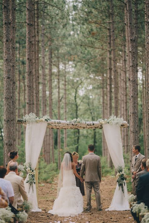 birch arch tree grove outdoor wedding wisconsin romantic