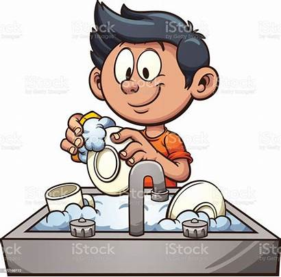 Dishes Washing Clip Boy Vector Illustration Clipart