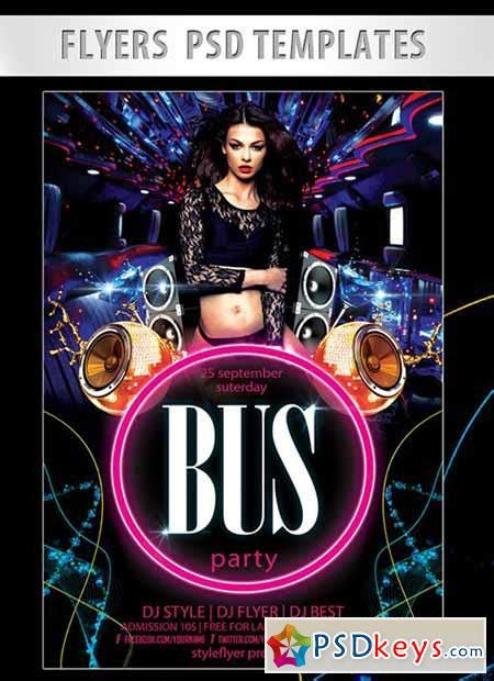 bus party flyer psd template facebook cover   photoshop vector stock image