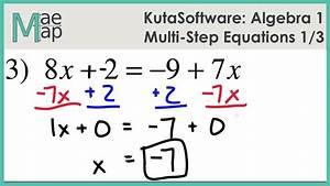 Kutasoftware  Algebra 1 - Multi-step Equations Part 1