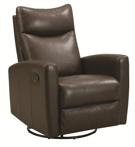 coaster 600036 brown leather swivel recliner a